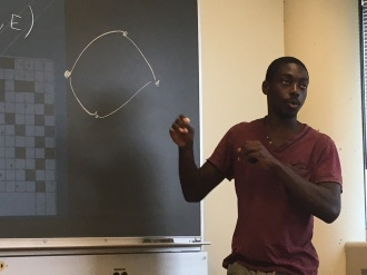 Benjamin Asamoah explaining his network optimization approach to dynamic deliveries.