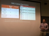 Zach Shearin, Undergradaute Researcher presented his analytical approach to the NHL point system