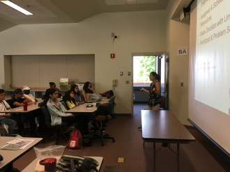 Brooke presenting about the power of Industrial and Systems Engineering to the Preface program in July 2018