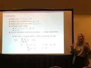 Hannah Horner presenting about her stochastic optimization approach